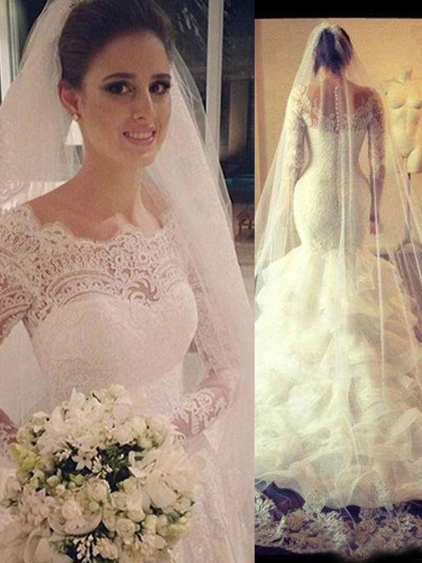 Charming Trumpet/Mermaid Scoop Long Sleeves Court Train Tulle Lace Wedding Dresses