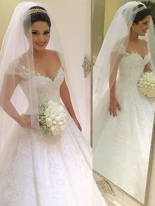 Romantic Ball Gown Sleeveless V-neck With Beading Tulle Floor-Length Wedding Dresses