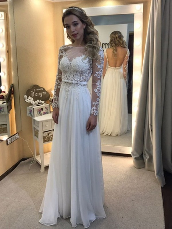 Floor-Length Long Sleeves A-Line/Princess Bateau Lace Chiffon Wedding Dresses
