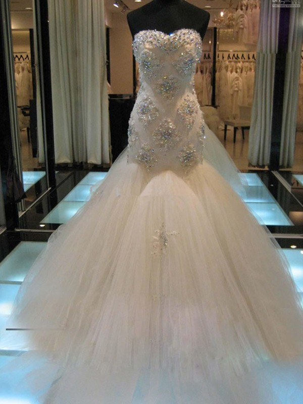 Mermaid Sweetheart Sleeveless With Beading Tulle Chapel Train Wedding Dresses