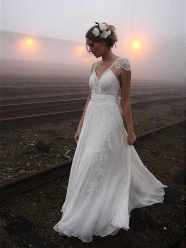 A-Line V-neck Sweep/Brush Train Sleeveless Lace Chiffon Wedding Dresses