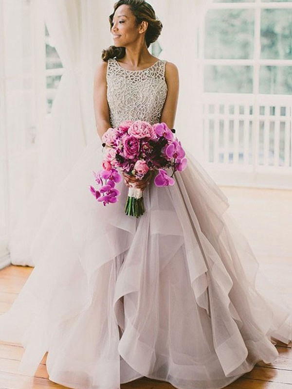 Dreamlike Ball Gown Scoop Sleeveless Sweep/Brush Train Tulle Wedding Dresses With Beading