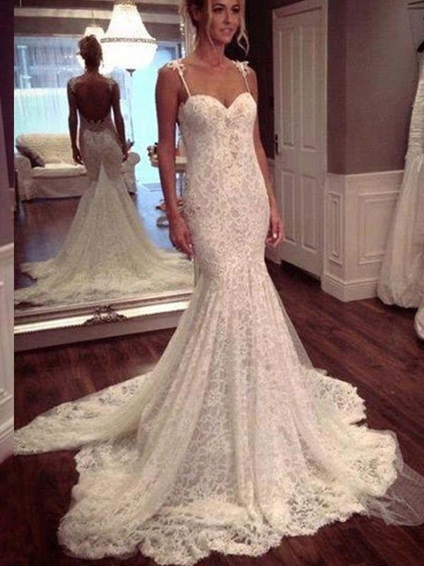 Court Train Mermaid Sleeveless Spaghetti Straps Lace Wedding Dresses