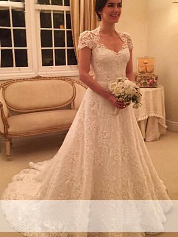 Court Train A-Line/Princess Sweetheart Short Sleeves Lace Wedding Dresses