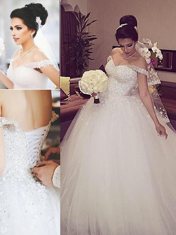 Court Train Ball Gown Off-the-Shoulder Sleeveless Lace Tulle Wedding Dresses