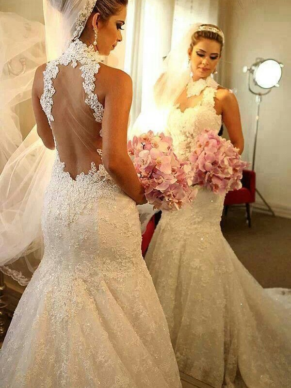Court Train Trumpet/Mermaid High Neck Sleeveless Lace Wedding Dresses
