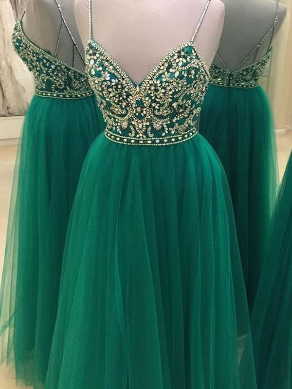 Floor-Length A-Line/Princess Sleeveless Spaghetti Straps Tulle With Beading Dresses