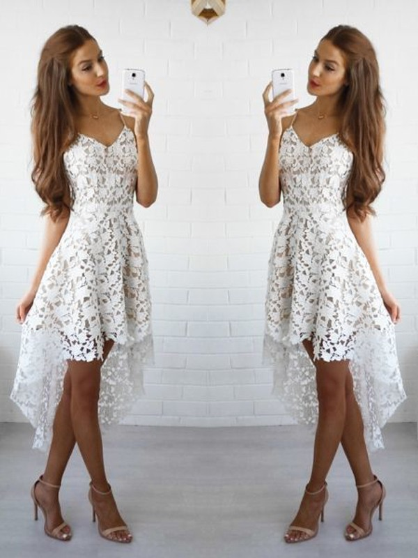 Lace A-Line/Princess Sleeveless Spaghetti Straps Short/Mini Dresses