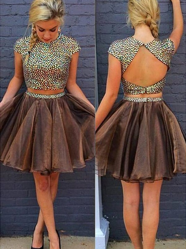 A-Line/Princess Sleeveless Scoop Short/Mini Organza Two Piece Dresses With Beading