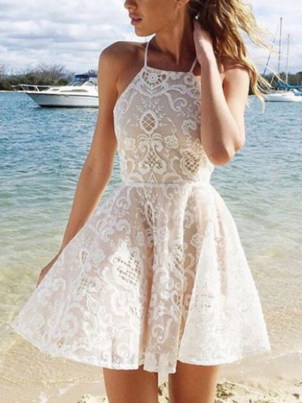 Halter A-Line/Princess Sleeveless Lace Spandax Short/Mini Dresses