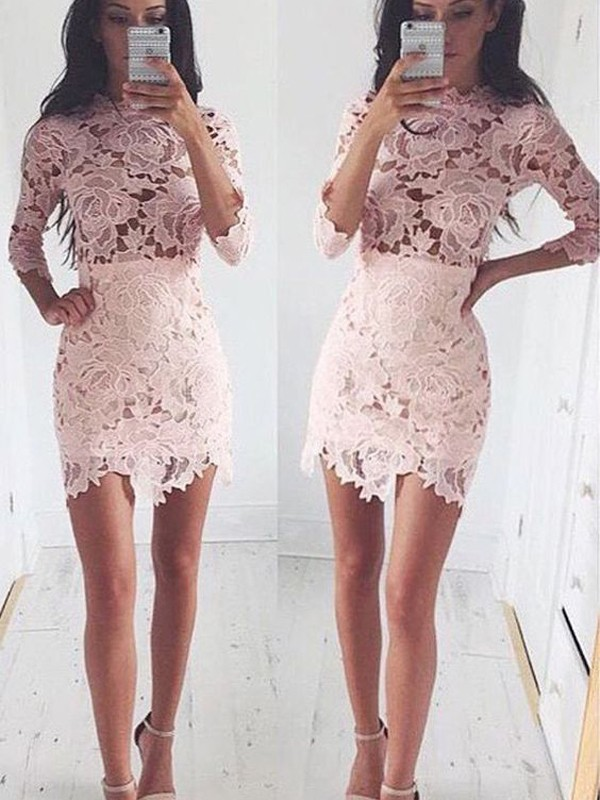 Shining A-Line/Princess 1/2 Sleeves Scoop Lace Short/Mini Dresses