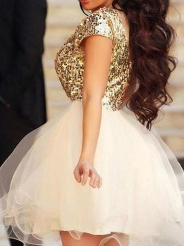 Wonderful A-Line/Princess Tulle Sleeveless Scoop Sequin Short/Mini Dresses