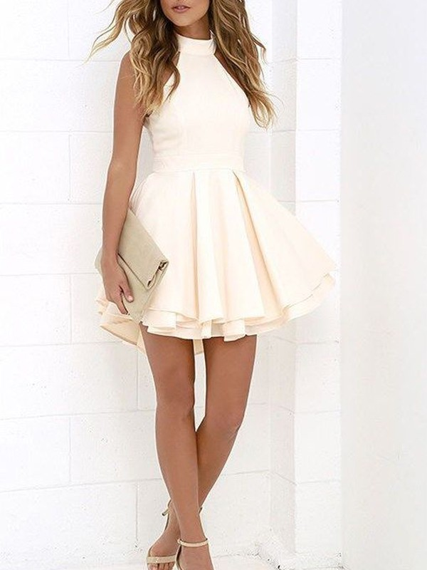 Exquisite A-Line/Princess Sleeveless Halter Satin Short/Mini Dresses