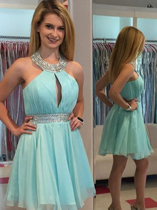 A-Line/Princess Sleeveless Halter Chiffon Short/Mini Dresses With Beading