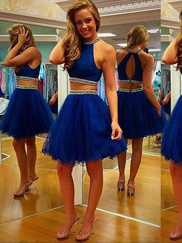 A-Line/Princess Halter With Beading Sleeveless Tulle Short Two Piece Dresses