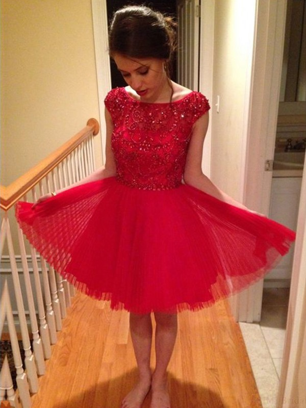 A-Line/Princess Scoop Tulle Sleeveless Short/Mini Dresses With Beading