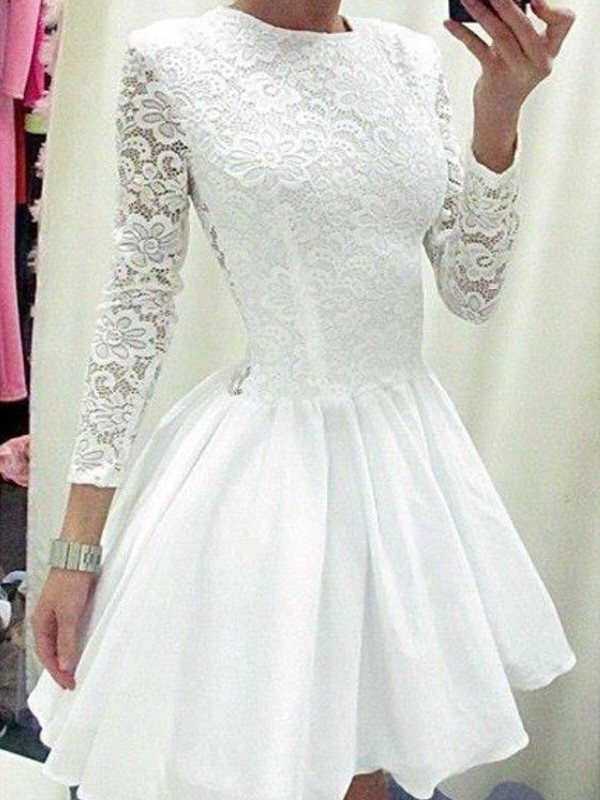 Romantic A-Line/Princess Long Sleeves Scoop Lace Chiffon Short Dresses