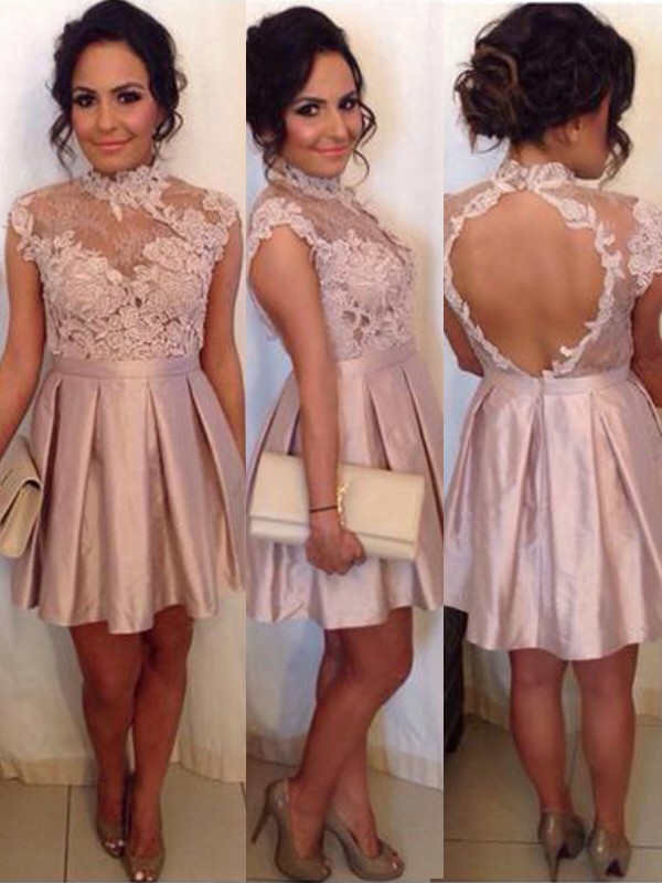 Amazing A-Line/Princess Sleeveless High Neck Lace Satin Short/Mini Dresses