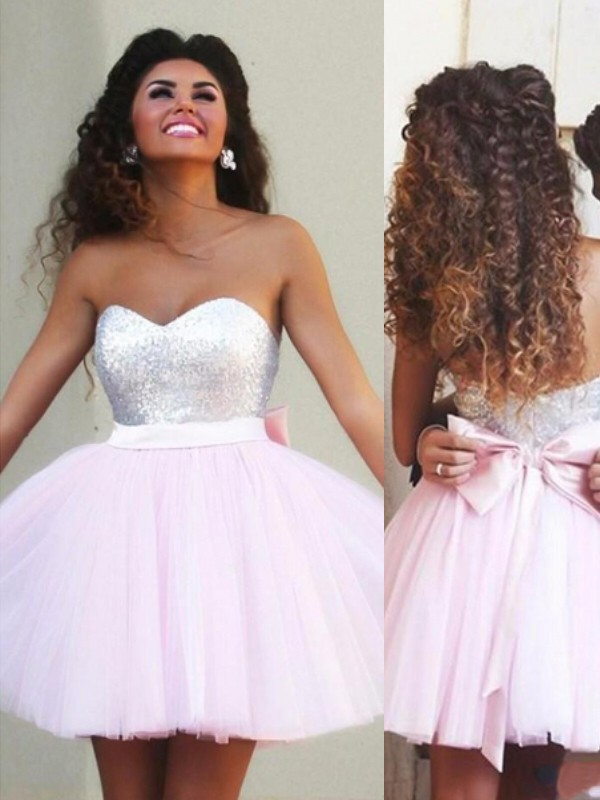A-Line/Princess Tulle Sleeveless Sweetheart Short/Mini Dresses With Beading