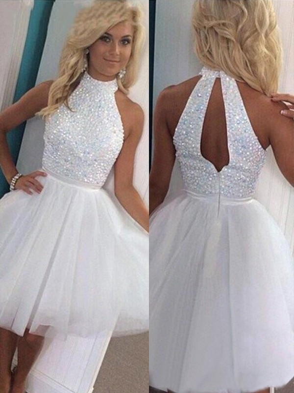 A-Line/Princess Sleeveless Halter Tulle Short/Mini Dresses With Beading