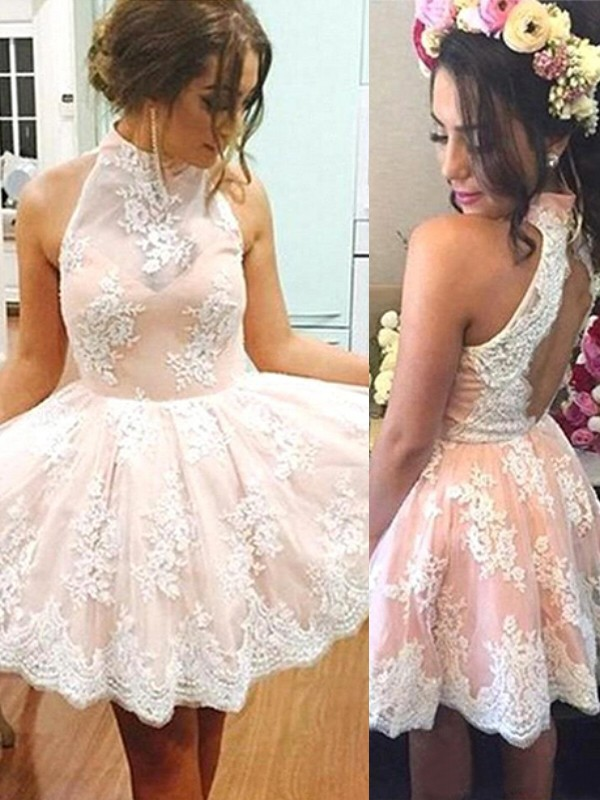 Shining Lace A-Line/Princess Sleeveless High Neck Short/Mini Dresses