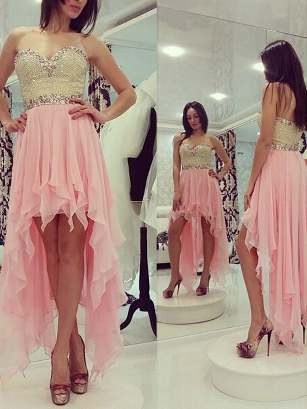 A-Line/Princess Sweetheart Chiffon Sleeveless Asymmetrical Dresses With Beading