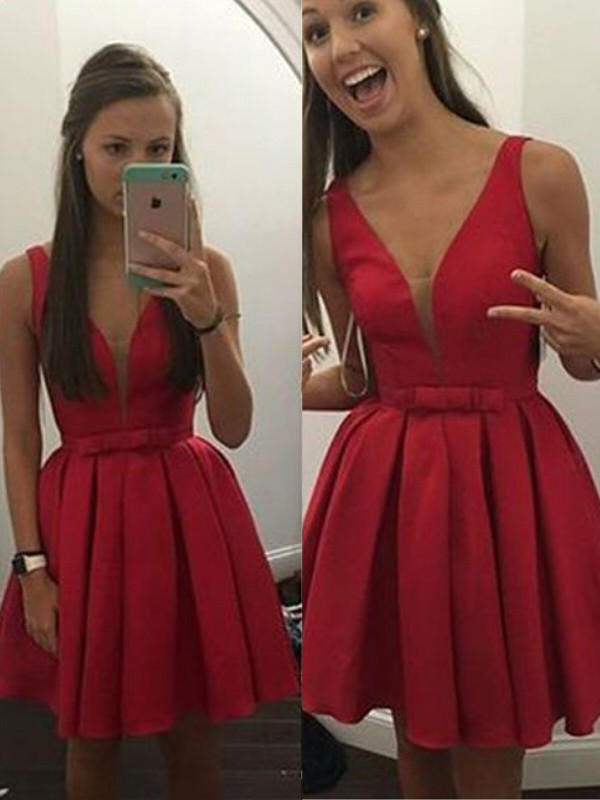 A-Line/Princess V-neck Bowknot Sleeveless Satin Short/Mini Dresses