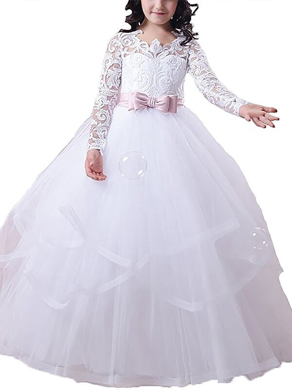 Floor-Length Ball Gown Jewel Long Sleeves Lace Tulle Flower Girl Dresses