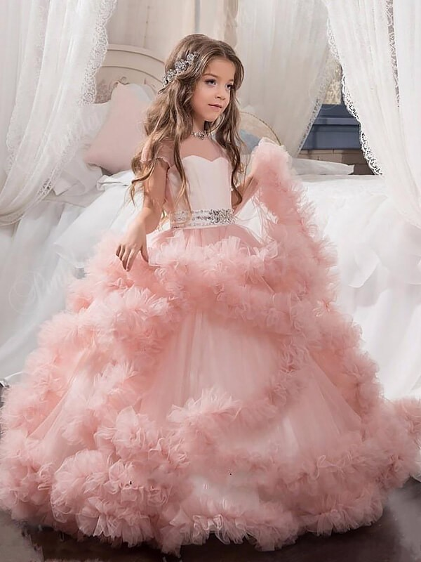 Floor-Length Ball Gown Jewel Short Sleeves Crystal Tulle Flower Girl Dresses