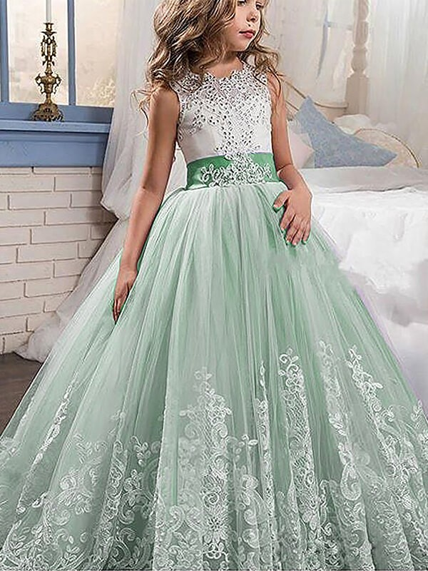 Ball Gown Jewel Sweep/Brush Train Sleeveless Lace Tulle Flower Girl Dresses