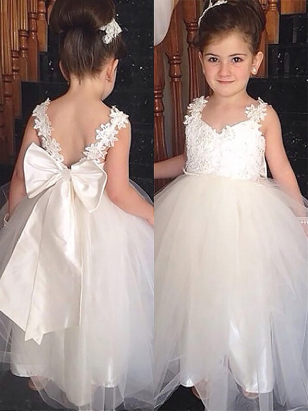 Floor-Length Ball Gown Sweetheart Sleeveless Bowknot Tulle Flower Girl Dresses