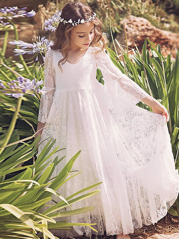 A-Line/Princess Floor-Length Long Sleeves V-neck Lace Flower Girl Dresses