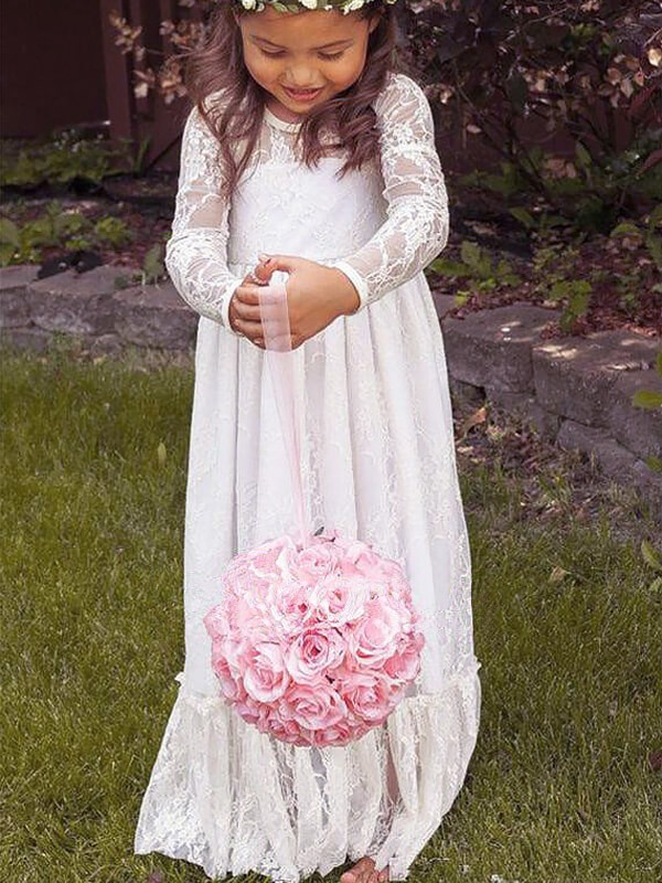 Floor-Length A-Line/Princess Jewel Long Sleeves Bowknot Lace Flower Girl Dresses
