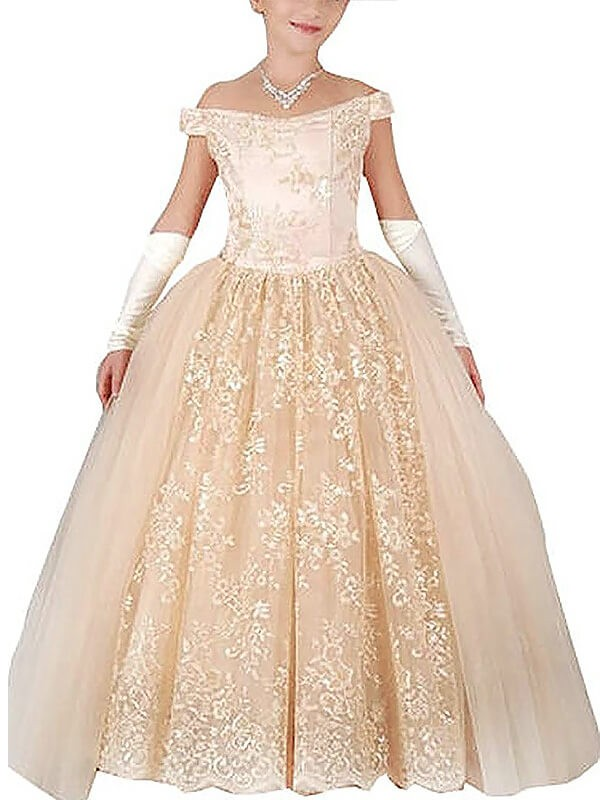Floor-Length Ball Gown Off-the-Shoulder Sleeveless Tulle Flower Girl Dresses With Applique