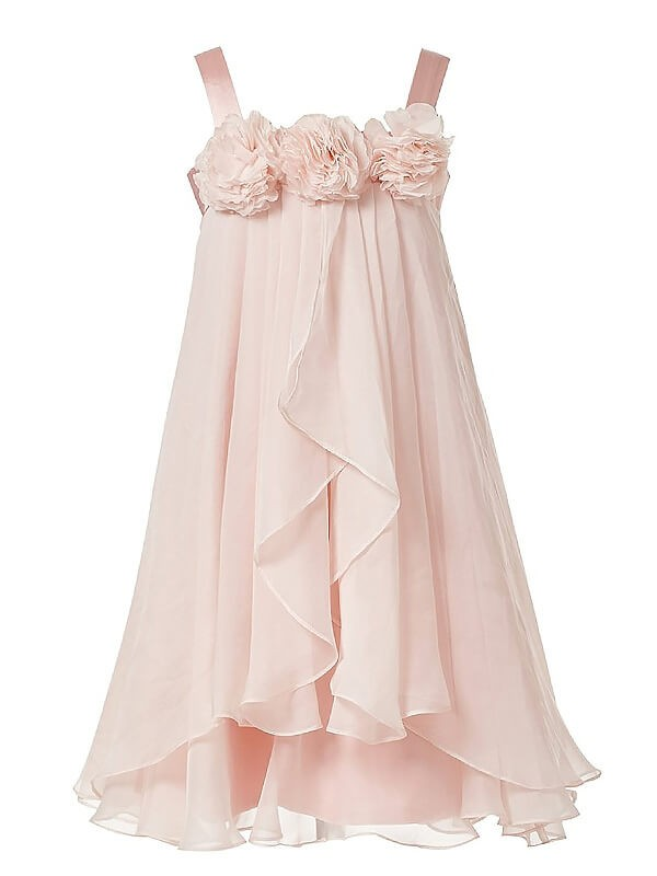 A-Line Straps Sleeveless Hand-Made Flower Chiffon Tea-Length Flower Girl Dresses