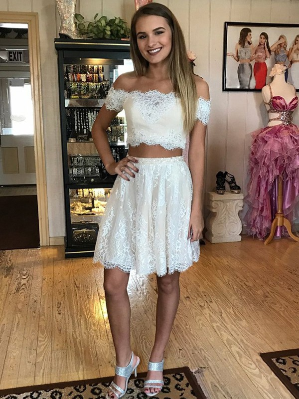 A-Line/Princess Lace Off-the-Shoulder Sleeveless Short/Mini Two Piece Dresses