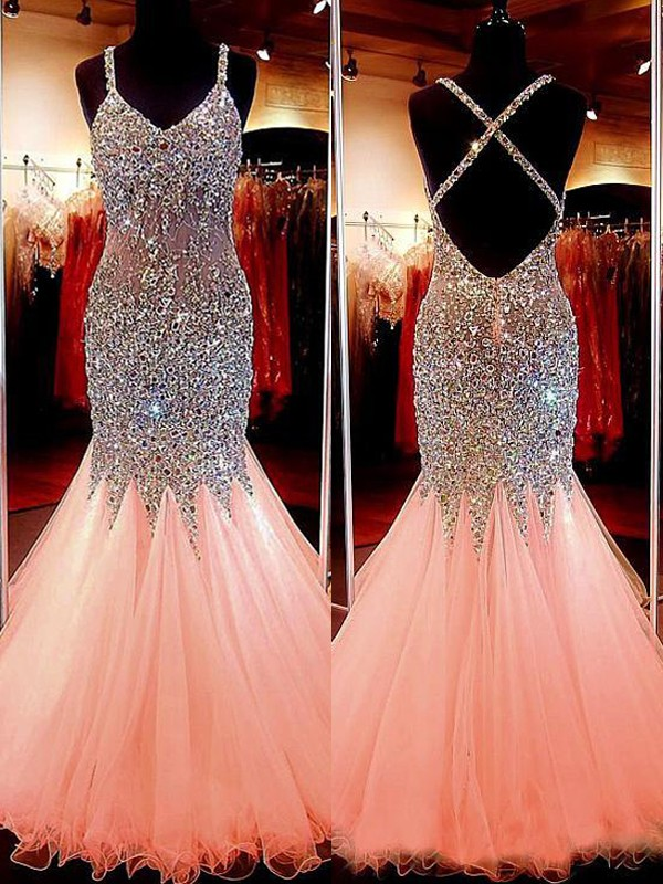 Floor-Length Trumpet/Mermaid Sleeveless V-neck Tulle Sequin Dresses