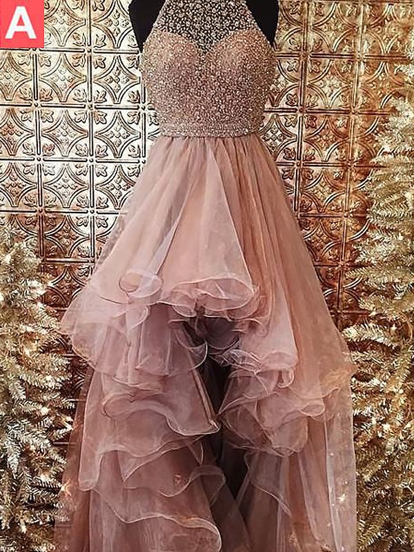 Ball Gown Halter Sleeveless Sweep/Brush Train With Beading Tulle Dresses