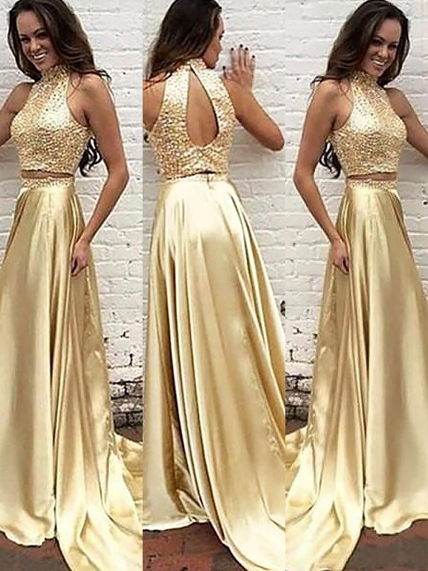 Sweep/Brush Train A-Line/Princess High Neck Sleeveless Satin Two Piece Dresses With Beading