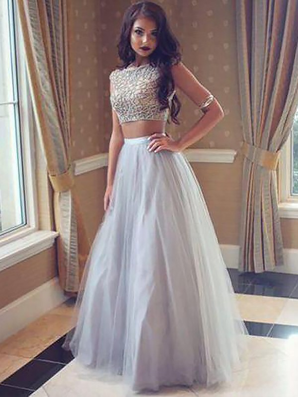 Floor-Length A-Line/Princess Bateau Sleeveless Tulle With Beading Two Piece Dresses