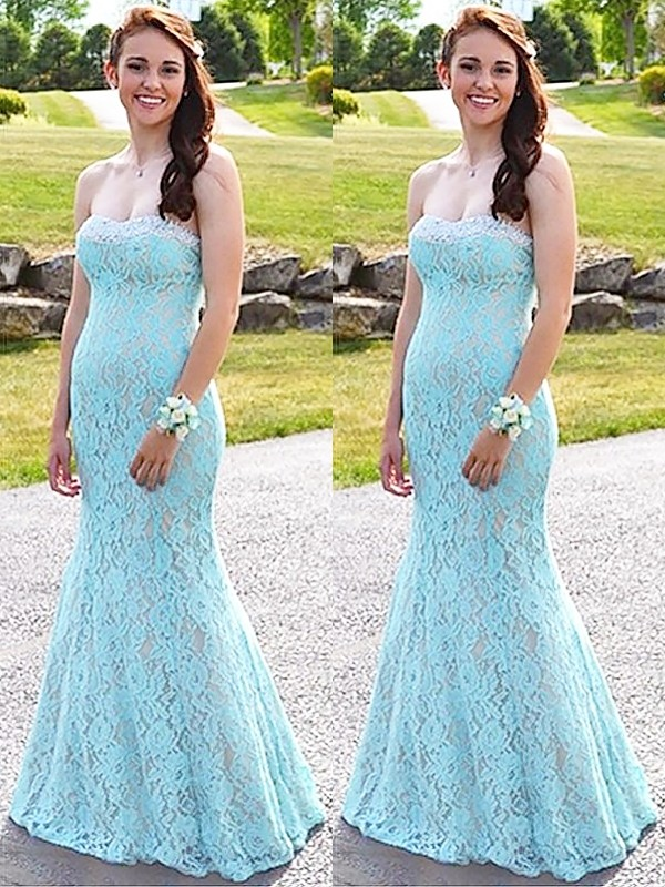 Trumpet/Mermaid Sleeveless Floor-Length Sweetheart Lace Dresses With Beading