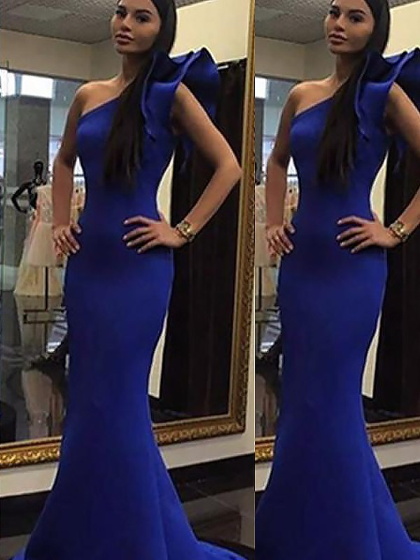 Sweep/Brush Train Mermaid Sleeveless One-Shoulder With Ruffles Satin Dresses