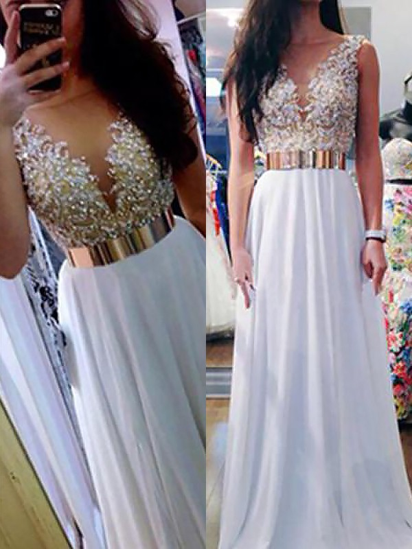 A-Line/Princess V-neck Floor-Length Sleeveless With Beading Chiffon Dresses