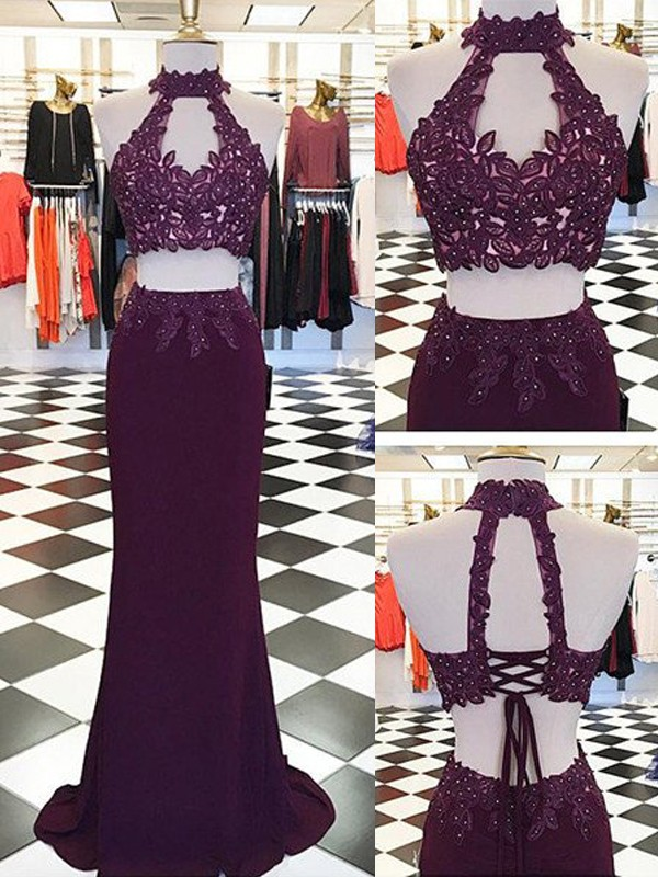Sheath/Column Halter Floor-Length With Applique Sleeveless Spandex Two Piece Dresses