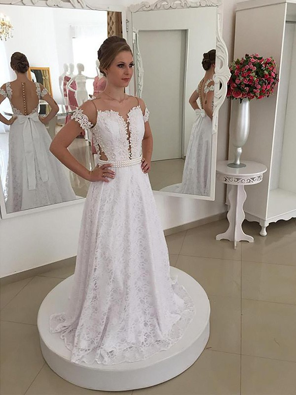 A-Line/Princess Short Sleeves Scoop Sweep/Brush Train Lace Wedding Dresses