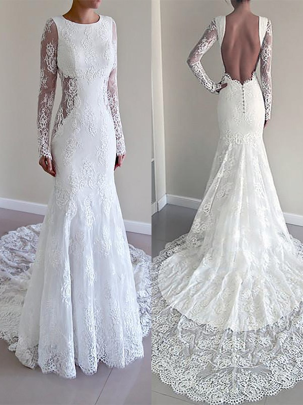 Perfect Trumpet/Mermaid Long Sleeves Scoop Court Train Lace Wedding Dresses