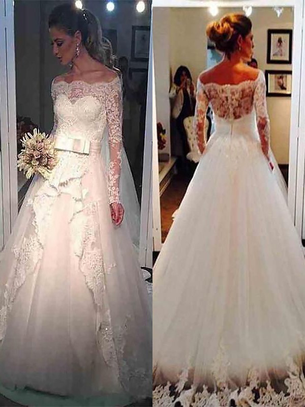 Ball Gown Long Sleeves Off-the-Shoulder Sweep/Brush Train Tulle Wedding Dresses