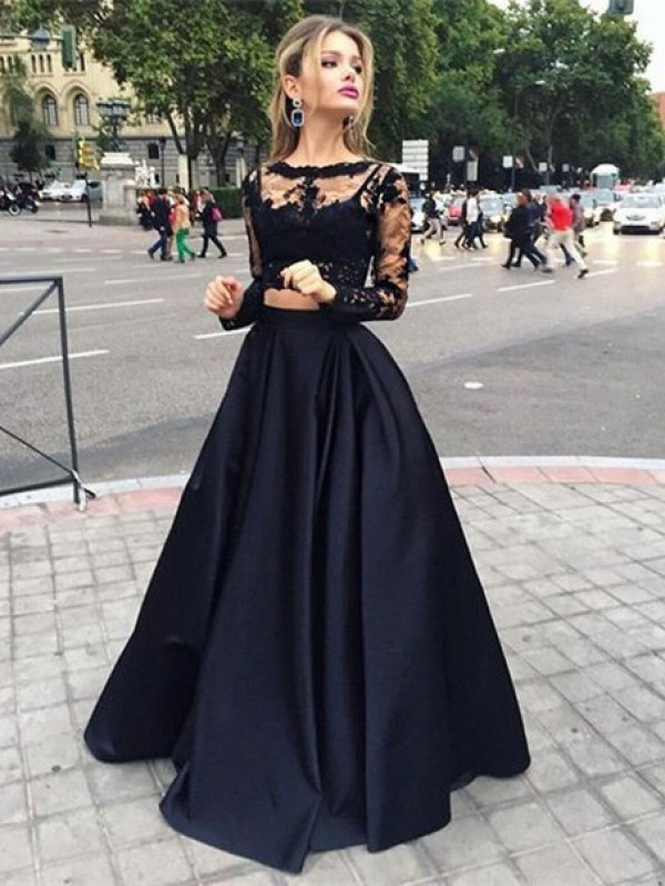 Pretty Ball Gown Long Sleeves Bateau Satin Floor-Length Dresses