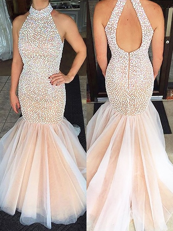 Trumpet/Mermaid Halter Sweep/Brush Train Sleeveless With Beading Tulle Dresses