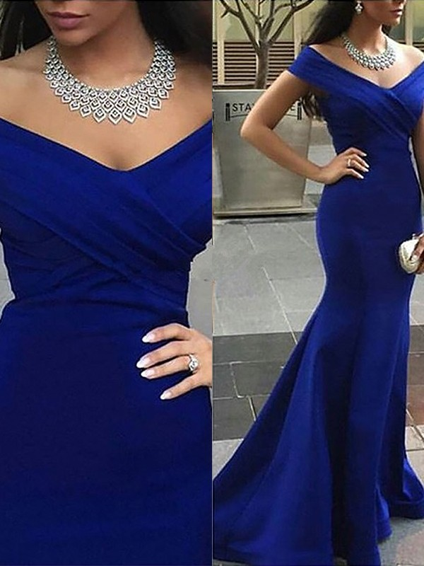 Sweep/Brush Train Trumpet/Mermaid Off-the-Shoulder Sleeveless Satin Dresses